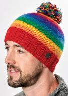Bobble hat - pure wool - hand knitted - fleece lining - rainbow