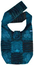 Heavy overdyed - embroidered beach bag - teal