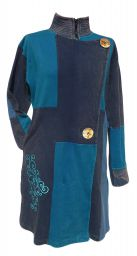 Embroidered Patchwork Coat - Blue