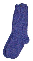 Pure wool - hand knit socks -  plain blue heather