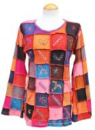 Hand embroidered - patchwork top - spice