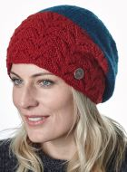 Pure Wool - Fir Stitch - Baggy Beanie - Red/Teal