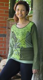 Applique large flower - long sleeve top - green