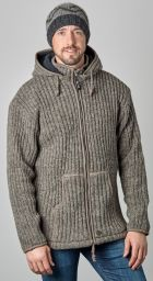 detachable hood - ribbed jacket - Marl Brown