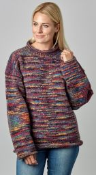 hand knit jumper - two tone - Berry electric