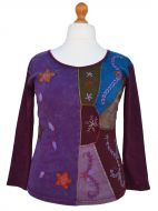Applique & embroidery - stonewashed top - multi aubergenes