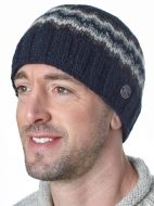 Half fleece lined - zig zag beanie - Black