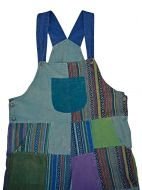 Patchwork - stonewash- cotton dungarees - blue/multi