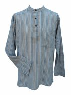NEW SEASON - Light weight - Striped Cotton Shirt - Grey Multi
