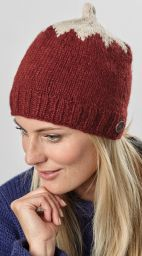 Hand knit pure wool - top notch beanie - deep red/cream
