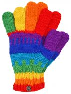 Fleece lined -  pure wool - striped gloves - Rainbow