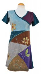 Applique flower - short sleeve tunic - teal