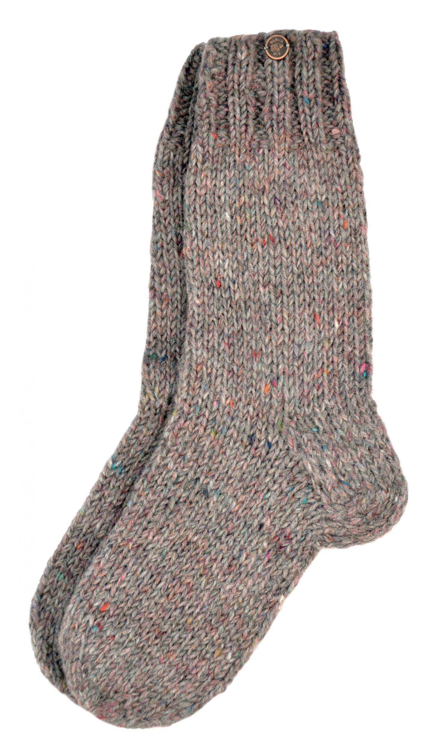 Pure Wool Hand Knit Sock Pale Heather Black Yak