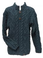 pure wool jumper - cable - Teal