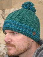 half fleece lined - ribbed bobble hat - emerald