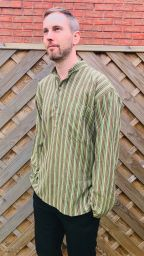 Light weight - Striped Cotton Shirt  - Greens