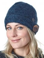 Big button cloche - pure wool - fine wool mix - blue
