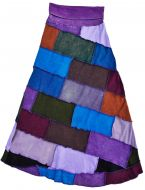 Embroidered - long length skirt - purple