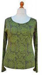Interlocking patterns - lightweight - scoop neck top - green