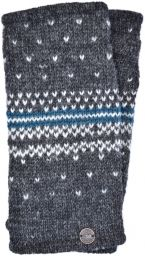 Pure wool - Nordic wristwarmers - grey/teal