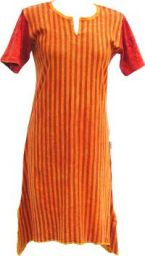 Stonewashed Striped Dress - Orange