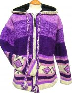 Hand knit - pixie hooded jacket - graduated Purple