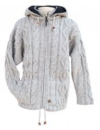 detachable hood - diamond rope cable jacket - pale grey