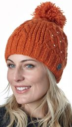 Trellis sparkle bobble hat - hand knitted - fleece lining - amber