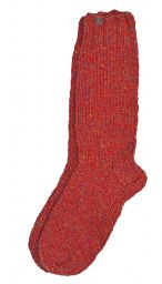 Pure wool - hand knit socks -  plain rust heather