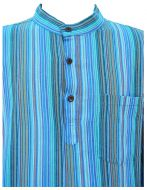 Light weight - Striped Cotton Shirt - Strong turquoise