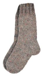 Pure wool - hand knit socks -  plain pale heather