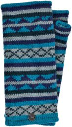 Stripe and wave - pure wool wristwarmer - blue/grey