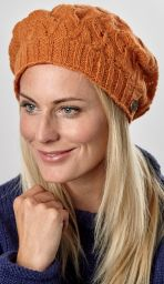 Half fleece lined - scroll beret - Spice
