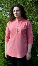 Fine cotton - coconut button top - soft red