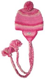 Pure wool - half fleece lined - long plait - ear flap hat - Pinks