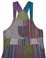 Patchwork - stonewash- cotton dungarees - brown/multi