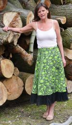 Swirl Pattern - Wrapover Skirt - Lime Green