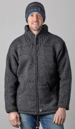 Fleece lined - pure wool jacket - Charcoal