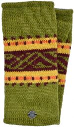 V' band - pure wool wristwarmer - green
