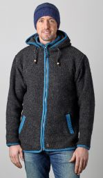 Pure wool - detachable hood - contrast trim - charcoal/blue