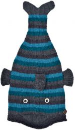 Hand knit - short tailed fish - Blue stripes
