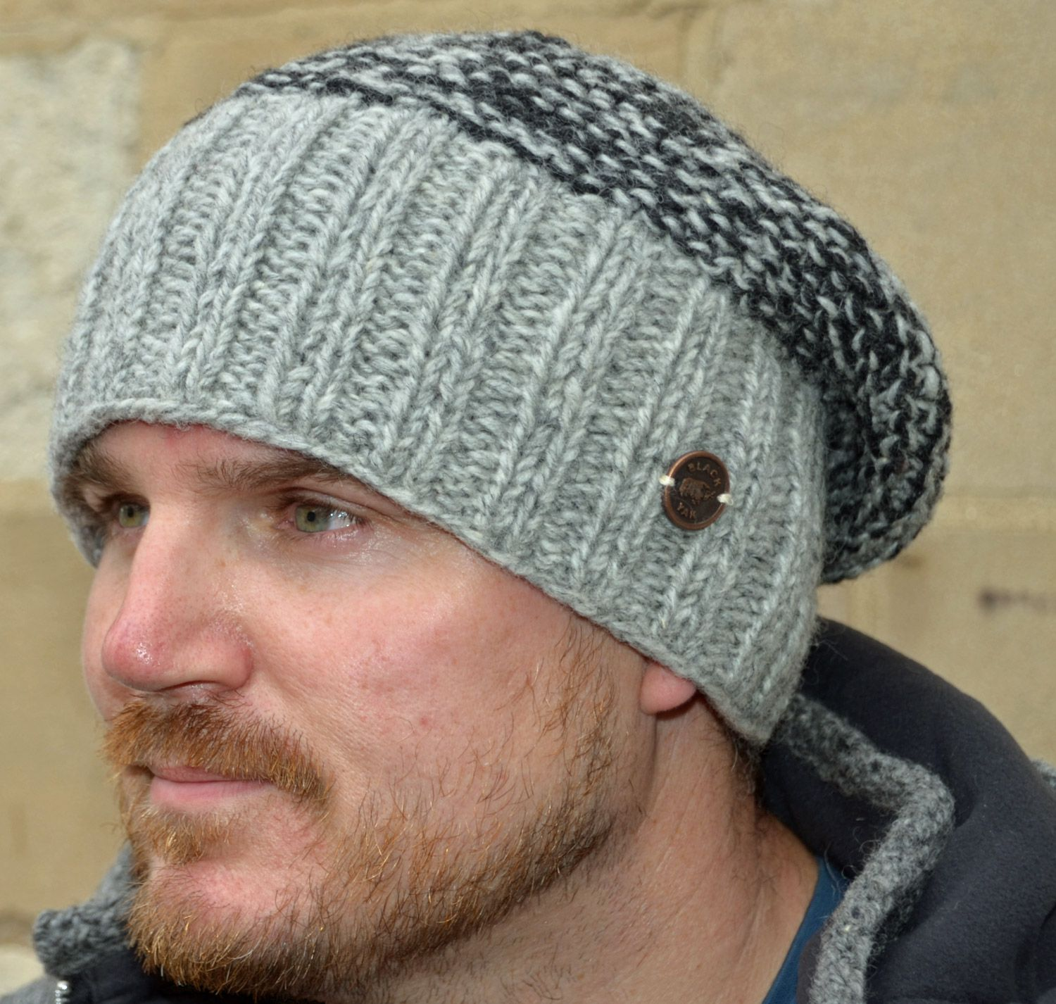 Hand knit - moss two tone - baggy beanie - pale grey  07afeafbc2d