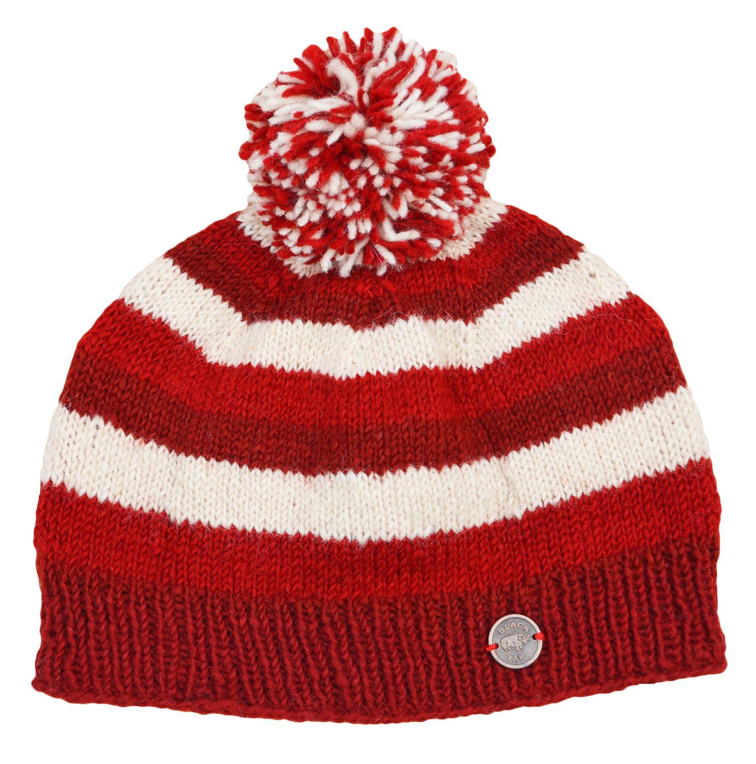 d5dc331de69e76 Pure wool - hand knit - single knit - bobble hat - Red/cream   Black Yak