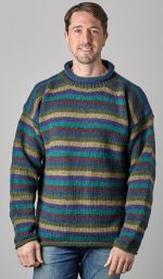 Pure wool jumper - stripe - Greens/blues