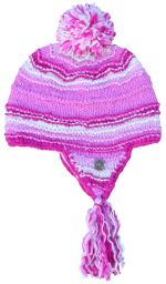 Snowboarder bobble earflap - pure wool - hand knitted - fleece lining - pink / white