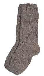 Pure wool - hand knit socks -  plain marl brown