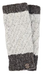 Fleece lined - contrast border - wristwarmer - Pale grey/brown