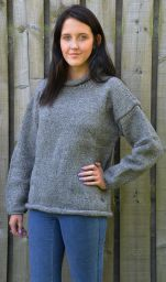 pure new wool - hand knit jumper - Mid grey