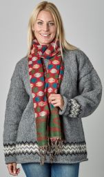 Wool mix - woven scarf - circles - red