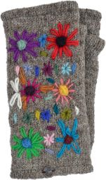 Hand embroidered flower - fleece lined wristwarmer - marl brown